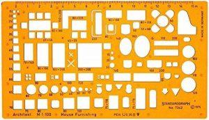 1: 100Échelle de dessin Architectural Modèle Stencil–Architecte technique Dessin Fournitures–Meubles symboles pour maison Intérieur Conception de plan au sol de la marque Standartgraph image 0 produit