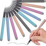 10pièces Mode simple métal Neutre Pen 0,5mm, stylo à encre gel liquide école bureau papeterie Outil d'écriture et Lot de 10recharge d'encre gel de la marque Hestya image 1 produit