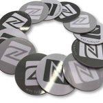 12x NFC Autocollant de PVC rigide, 25mm de diamètre, disque, gris blanc Noir Label Tag, NXP Tagify Ntag213Puce–Véritable Puce développé par NXP Semiconductors, 144octets de mémoire, Mot de passe de vérification protection, lecture/écriture/verrouill image 2 produit
