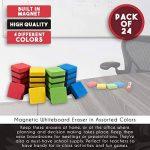 24-pack Tableau blanc magnétique gomme–Effaceur magnétique pour stylos et marqueurs effaçables à sec, idéal pour les enfants, à la maison, à l'école et au bureau, couleurs assorties, 4,8x 4,8x 1,8cm de la marque Juvale image 4 produit