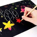 30 Sheets Magic Papiers à Gratter, Shsyue Papiers à Dessin Scratch Paper Papier de Peinture avec 3 Pièces Stylet en Bois et 4 Pièces Règles de Peinture de la marque Shsyue® image 4 produit