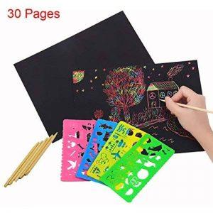 30 Sheets Magic Papiers à Gratter, Shsyue Papiers à Dessin Scratch Paper Papier de Peinture avec 3 Pièces Stylet en Bois et 4 Pièces Règles de Peinture de la marque Shsyue® image 0 produit