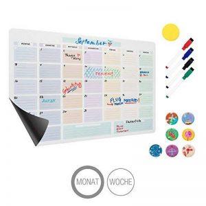 Amazy Calendrier magnétique mensuel avec 4 marqueurs, 7 aimants et un effaceur – Calendrier pour frigo effaçable pour organiser vos mois (Mensuel) de la marque Amazy image 0 produit