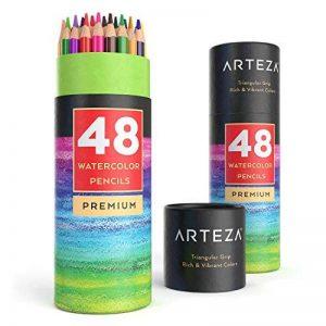 Arteza Crayons De Couleur Aquarelle En Bois avec le nom de couleur imprimé sur chaque crayon - Mine Souple - Forme Triangulaire - Pré-Aiguisé (en Tube de 48) de la marque ARTEZA image 0 produit