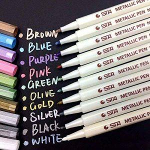 Audel Stylos marqueurs métalliques - jeu de 10 stylos de différentes couleurs métalliques assorties sur papier, verre, bois, poterie, céramique, fabrication de cartes et album photo bricolé, marqueurs de la marque Audel image 0 produit