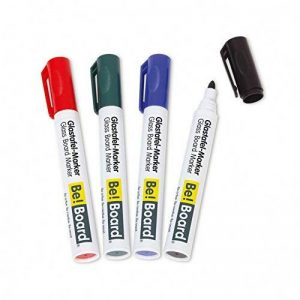 Be!Board B3002 Lot de 4 Marqueurs pour tableaux en verre, pointe ogive 2-3 mm, effaçables, couleurs assorties (noir, rouge,vert, bleu) de la marque Be!Board image 0 produit