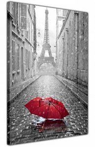 Canvas It Up Impression sur Toile-Tour Eiffel en Noir et Blanc avec Parapluie Rouge-Décoration intérieureDimensions: 76x50cm. de la marque Canvas It Up image 0 produit