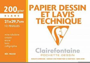 Clairefontaine 96258C Dessin Technique pochette 12F 21x29,7cm 200g papier lisse Blanc de la marque Clairefontaine image 0 produit