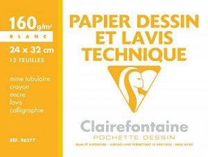 Clairefontaine 96277C Dessin Technique pochette 12F 24x32cm 160g papier lisse Blanc de la marque Clairefontaine image 0 produit