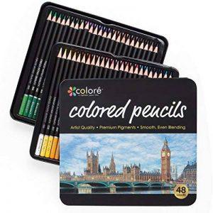 Colore Crayons de couleur - Ensemble de 48 crayons de couleur prime Pré-taillés pour dessiner et colorier des pages - Un super équipement d'art scolaire pour enfants et adultes - Livres à colorier- 48 couleurs de la marque Colore image 0 produit