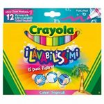 Crayola–58–8335–Les lavabilissimi 12marqueurs, Pointe Maxi, Couleurs Tropicales de la marque Crayola image 1 produit