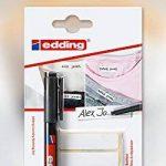 Edding Kit de marquage spécial tissu avec marqueur permanent pour textiles modèle 141F de la marque Edding et lot de 25 étiquettes blanches à fixer au fer à repasser, idéal pour l'école, les uniformes, les maisons de retraite, etc. Pen + 50 Labels de la m image 2 produit