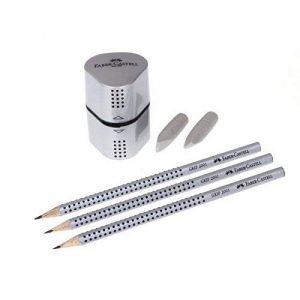 Faber-Castell 117098 Crayons grahphite Grip 2001, Lot de 3 crayons HB + 2 gommes + 1 taille-crayons de la marque Faber-Castell image 0 produit