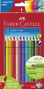 Faber-castell-jumbo grip - 110912 ensemble de 12 crayons de couleur dans emballage en carton, avec taille-crayon et faber-castell 110994 étui de crayons de couleur jumbo grip neon 5 de la marque Faber-Castell image 0 produit