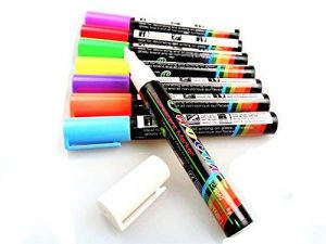 Fluotab® Kit de 8 Marqueurs à craie liquide Fluorescent effaçable/Feutre magique multi-couleurs pour les tableaux/ardoises/Miroir/Verre/Métal- Grand contenu: SATISFAIT OU REMBOURSÉ - 60 JOURS DE GARANTIE-Pointe 6MM de la marque FluoTab® image 0 produit