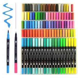 Hethrone Stylos à brosse à double pointe à 100 couleurs avec bordure fine Tip 0.4 PA37 de la marque Hethrone image 0 produit