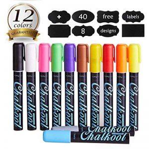 InnoBeta Chalkool Paquet de 12 stylos marqueurs Craie Liquide , Effaçables, pointe fine et biseautée réversible avec 40 etiquettes en tableau noir gratuites en bonus de la marque InnoBeta image 0 produit