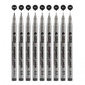 Kesoto Fineliner d'encre Mcro Ensemble de stylos, 9pièces Noir Pigment liner Stylo pour art croquis, écriture, dessin technique de la marque KESOTO image 0 produit