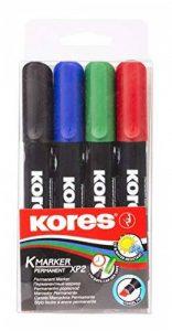 Kores XP2 Lot de 4 Marqueurs permanent pointe biseautée Couleurs Assorties de la marque Kores image 0 produit