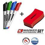 Kores XW2 Lot de 4 Marqueurs effaçable pointe biseautée avec tampon effaceur Couleurs Assorties de la marque Kores image 3 produit