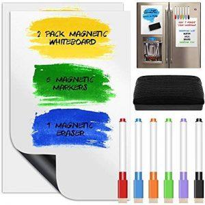 Lot de 2feuilles de tableau blanc effaçable à sec magnétique, Yucool Calendrier Message Board de cuisine pour réfrigérateur/réfrigérateur Student Teacher d'enfants, avec 6couleurs marqueurs et un tableau gomme, des 20,3x 30,5cm–Blanc de la marque Yu image 0 produit