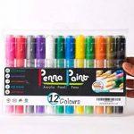 Marqueurs de peinture acrylique par Penna | un Feutre ogive/biseautée Pointe réversible | Lot de 12couleurs de la marque Penna Paint image 1 produit