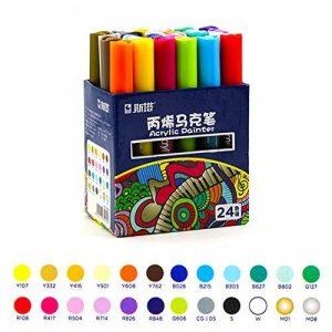 Marqueurs peinture acrylique pointe moyenne pour loisirs créatifs 12 ou 24 couleurs assorties, 24 couleurs, 15cm*11cm*7.2cm de la marque Laconile image 0 produit