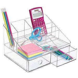 mDesign organiseur de bureau – rangement de bureau avec 2 tiroirs et 6 compartiments – organisateur de bureau pour crayons, surligneur et plus encore – transparent de la marque MetroDecor image 0 produit