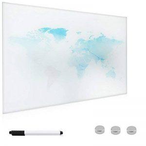 Navaris Tableau magnétique en Verre - Panneau mémo planisphère 60 x 40 cm - Tableau Mural Design Carte du Monde Stylo marqueur de la marque Navaris image 0 produit