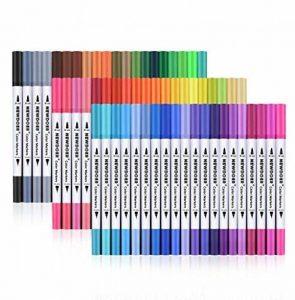 Palette de 60marqueurs de couleur double pointe - Pointe de 2mm et 0,4mm - Pour dessin, croquis, peinture et création- Effet aquarelle - Newdoer de la marque Newdoer image 0 produit