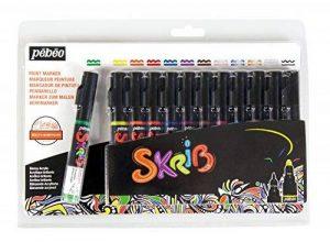 Pébéo 65276 Marqueurs Peinture Skrib Acrylique Brillante Classique Multi Surfaces Pointe 0,7/4mm Lot DE 12 Noir de la marque Pébéo image 0 produit