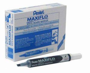 Pentel Maxiflo Lot de 12 marqueurs effaçables à sec tableau blanc Pointe biseautée moyenne Encre liquide bleue de la marque Pentel image 0 produit