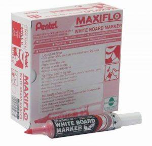 Pentel Maxiflo - MWL6M Lot de 12 Marqueurs effaçables à sec pour tableau blanc Pointe biseautée large-encre liquide rouge de la marque Pentel image 0 produit