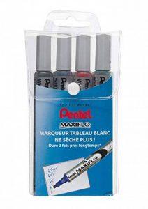 Pentel Maxiflo Pochette 4 Marqueurs tableau blanc Pointe biseautée moyenne Assortis Noir/Bleu/Rouge/Vert de la marque Pentel image 0 produit
