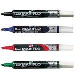 Pentel Maxiflo Pochette 4 Marqueurs tableau blanc Pointe biseautée moyenne Assortis Noir/Bleu/Rouge/Vert de la marque Pentel image 1 produit