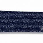 Porte-chéquier long horizontal à rabats pour homme (pour chéquier à double souche : à gauche et au dessus du chèque), Porte-chéquier correspondance homme, Motif Ecriture manuscrite fond bleu marine réf. 2135 de la marque bistrakoo image 1 produit