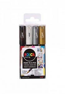 Posca 153544850 Lot de 4 Marqueur peinture avec encre à base d'eau et pointe fine, 1mm de la marque Posca image 0 produit