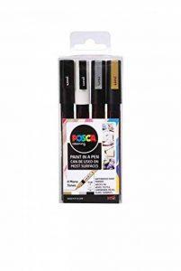 Posca 153544851 Lot de 4 Marqueurs peinture avec encre à base d'eau et pointe ogive 1,5mm de la marque Posca image 0 produit