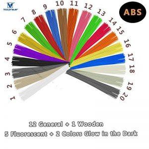 Recharge Bâton Stylo 3D Eco-Filament ABS - VICTORSTAR 20 Couleurs, 200 Mètres (656ft) / Comprendre Couleurs 1 en Bois + 2 Brillent dans le Noir + 5 Fluorescent / Diamètre 1.75mm / 40 Brins Chaque Couleur de la marque VICTORSTAR image 0 produit
