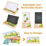 Safe&Care Wooden Magnetic Puzzle, 86/102 Pieces Learning Educational Wooden Jigsaw Puzzle Toys, Double Sided Magnetic Drawing Board for Kids with 3 Background Cards(English Letter/Animal Farm) de la marque Safe&Care image 4 produit