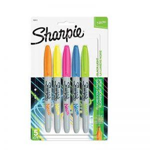 Sanford Sharpie Marqueur à Pointe Fine Indélébile Orange, Vert, Bleu, Rose et Jaune Fluo de la marque Sanford image 0 produit