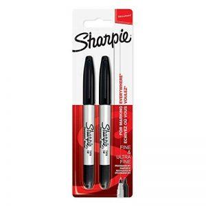 Sharpie Marqueurs Permanents, Pointe Double, Noirs, Lot de2 de la marque Sharpie image 0 produit