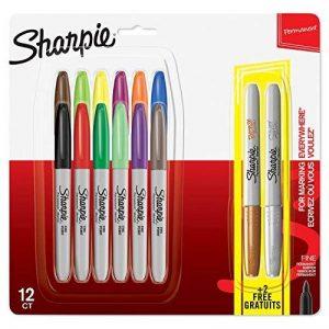 Sharpie marqueurs permanents, pointe fine, assortiment de couleurs, Lot de12 +2 de la marque Sharpie image 0 produit