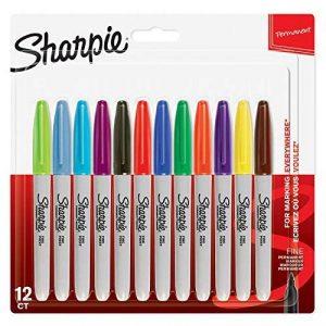 Sharpie marqueurs permanents, pointe fine, assortiment de couleurs, Lot de12 de la marque Sharpie image 0 produit