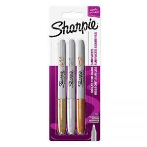 Sharpie Marqueurs Permanents, Pointe Fine, Assortiment de Couleurs Métalliques, Lot de3 de la marque Sharpie image 0 produit