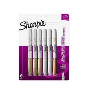 Sharpie Marqueurs Permanents, Pointe Fine, Assortiment de Couleurs Métalliques, Lot de6 de la marque Sharpie image 0 produit