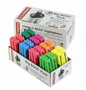 STABILO BOSS Big Boss Lot de 48 surligneurs 6 jaunes, 6 bleus, 6 verts, 6 rouges, 6 turquoises, 6 orange, 6 roses et 6 violets de la marque STABILO image 0 produit