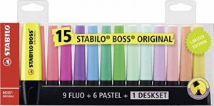 STABILO BOSS ORIGINAL - Deskset de 15 surligneurs - Couleurs fluo et pastel de la marque STABILO image 0 produit