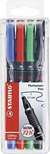 STABILO OHPen - Pochette de 4 marqueurs (encre permanente/pointe fine 0,7mm) de la marque STABILO image 0 produit