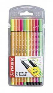 STABILO - Pochette de 5 stylos-feutres point 88 + 5 feutres Pen 68 - Couleurs fluo de la marque STABILO image 0 produit